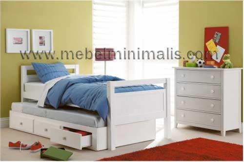 jual furniture tempat tidur anak perempuan duco putih