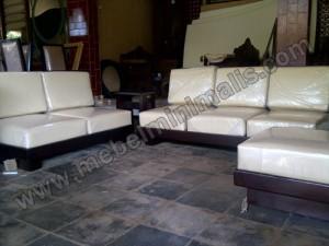 Living Room Jati Jok Kulit Asli Minimalis